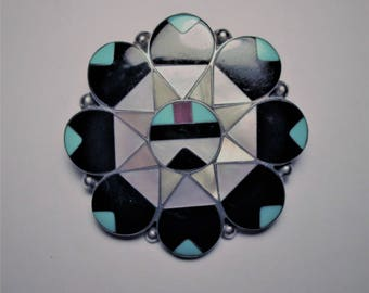 Zuni - Dishta Inlaid Turquoise Surface Kachita Brooch /Pendant