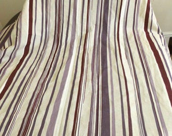 Purple striped fabric remnant on beige, cushion textile, curtain material, long stripe, sewing fabric, medium weight, home decor, bag fabric
