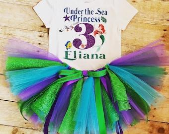 Little Mermaid Birthday Outfit, Little Mermaid Birthday Shirt, Little Mermaid Tutu Set, Under the Sea Princess, Ariel Birthday, Personalized