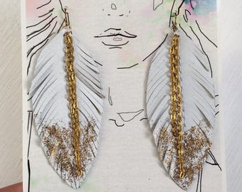 White Leather Feather Earrings - Dipped in Gold