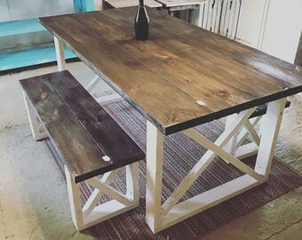 Rustic Farmhouse Table With Benches Dark Walnut Top And Weathered White Base Cross Brace