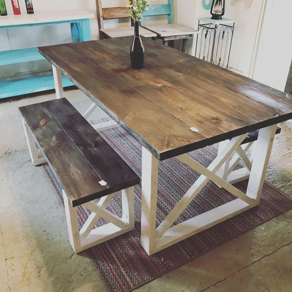 Rustic Kitchen Tables And Chairs: Rustic Farmhouse Table With Benches With Dark Walnut Top And