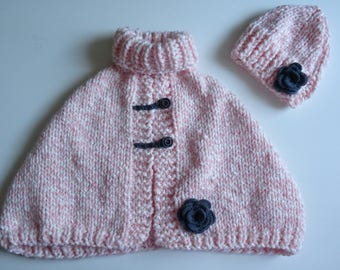Poncho and bonnet, cape for girl, pink cape, knitting poncho, knitting cape, girl poncho, pink poncho, girl gift, winter accessories