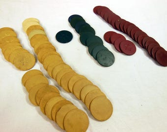 vintage flat clay poker chip lot of 67 red blue and tan - Clay Poker Chips