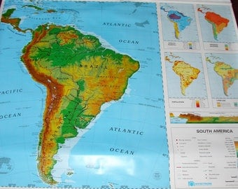 Old School Map South America Nystrom Late Mid Century Pull Down Map WIth All The Hardware
