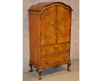 Vintage Unusual English Edwardian Style Burl Wood Cabinet