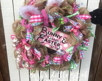 Bunny Kisses, Easter Wishes, Easter Bunny Wreath,  Bunny Sign, Bunny Wreath, , Easter Wreath, Easter Wreaths, , Ready!