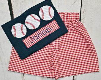 Boys Baseball Shirt- Toddler boys- Baseball Trio Shirt- Baby Boys- Baseball Birthday Shirt- Short Set- 6m, 12m, 18m, 2t, 3t, 4t, 5, 6