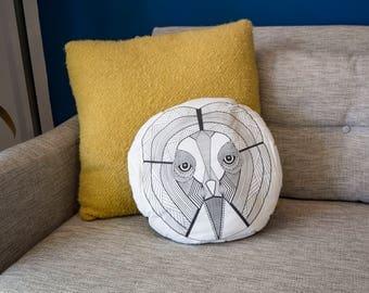 Handmade Owl Cushion - Owl of Wisdom Animal Totem Stuffed Cushion // Handmade Illustrated Throw Cushion // Black & White Decor // Owl Home