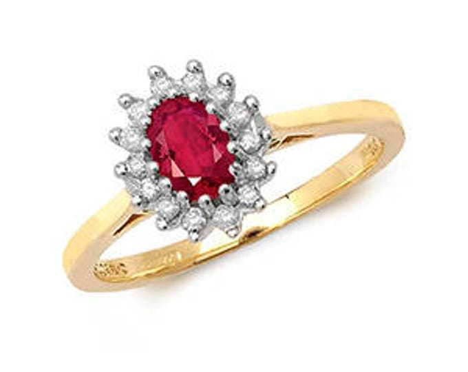 Diamond & OVAL RUBY Yellow Gold Engagement Wedding Ring Diamond Cluster Ring