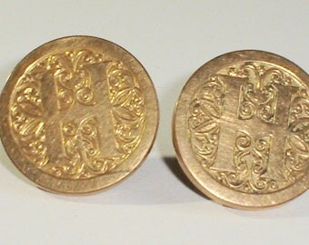 Large, Round Antique Gold Filled Men's Ornate Initial H Cufflinks, Brevete J.H.