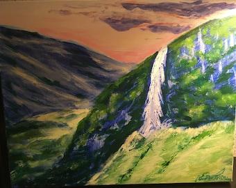 Majestic Waterfall and hills Sunset Acrylic Painting