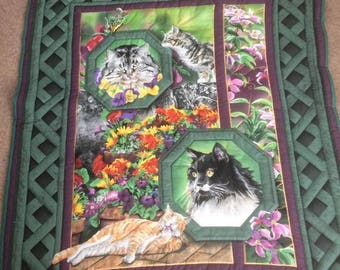 Cats in the garden quilt quilted throw