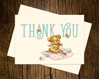 Teddy Bear Thank You Note Cards Custom Printed Handmade Stationery Set of 12 Blue Pink Vintage Ecru