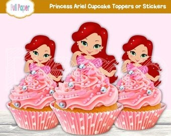 Printable Ariel Cupcake Toppers-Princess Ariel-Party Supplies-Party Decor-Ariel Toppers-Ariel Stickers-Birthday Party-Ariel Invite-Toppers