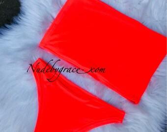 neon coral High leg bandeau bikini set, bikini, sexy bikini, beachwear, swimwear, brazilian bikini set, swimwear, festival bikini