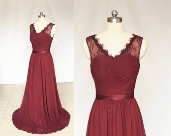 V-neck Burgundy Lace Chiffon Long Bridesmaid Dress