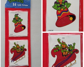 Vintage Teenage Mutant Ninja Turtles 14 Gift Trims Tags Christmas