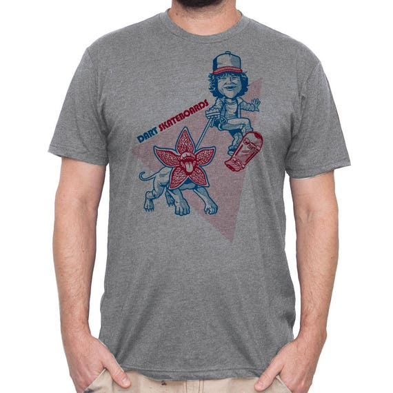 Stranger Things Shirt - Dustin and Dart Shirt - Demogorgon Shirt -  Skateboard - Mens Shirt