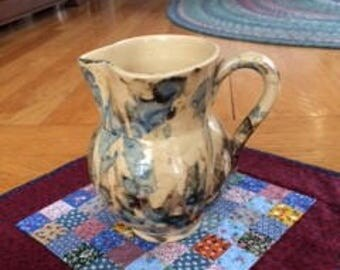 spongeware pottery pitcher blue tan swirls on yellow ware