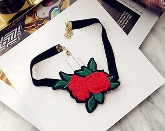 Red Rose Embroidered Choker Necklace