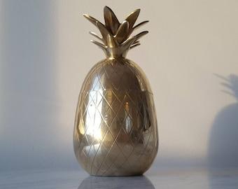 Vintage Brass Pineapple Trinket box Treasure Box Candle Holder 1970's Solid Brass Pineapple Hollywood Regency Brass Pineapple