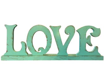 "Rustic Teal ""LOVE"" Tabletop Sign"