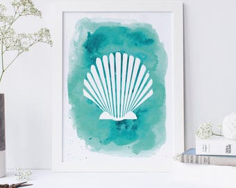 Seashell Print, Shell Art, Marine Art Print, Sea Shell Print, Beach Wall Decor, Printable Shells, Coastal wall Art, Art Prints, Top Sellers