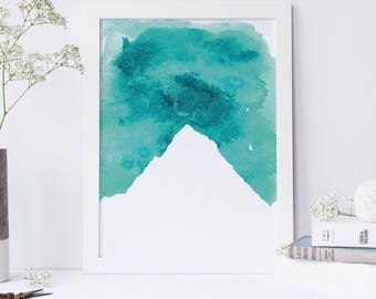 Watercolor Print, Mountain Print, Digital Prints, Mountain Printables, Aqua Art Print, Mountain Poster, Printable Poster, Babies Room Print