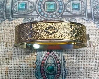 Antique Gold Filled Floral Etched Bangle Bracelet