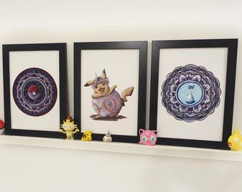 Gotta catch them all. Pokemon themed 3-piece set of prints, Pikachu, Pokemon go, mandala, geek art!