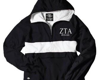 Zeta Tau Alpha // Zeta // Sorority Charles River Rain Jacket (stripe)  // Choose your color