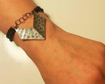 Worn arrowhead braided double strap bracelet