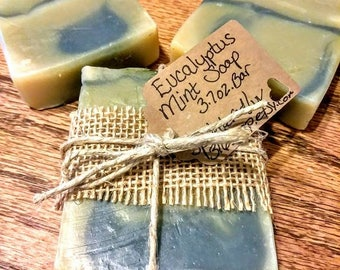 Eucalyptus Mint Soap/Organic Soap/Handmade Soap/Soap Samples/Essential Oil Soap/Natural Soap/Cold Process Soap/Vegan Soap/Bar Soap/Gift