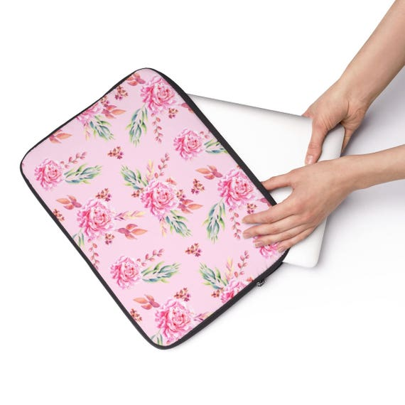 Laptop Sleeve Pink Roses  - Available in 3 sizes