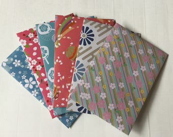 Floral envelopes, pen pal, flowers, Cherry blossom, love notes, japanese stationery,  pretty patterned envelopes, set of 6