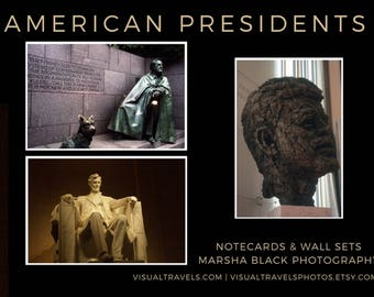"""American Presidents Photography, """"American Presidents Wall Art Collection"""" Prints,  American Presidents Note Cards, President's Day Gift"""