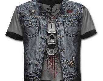 T Shirt THRASH METAL All Over Print Goth Emo Metal Alternative Biker