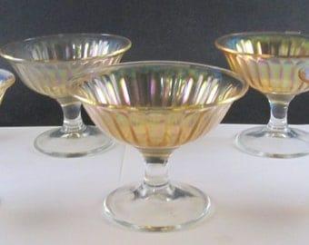 Vintage Set of 6 Marigold Carnival Glass  Pedestal Sherbet Dessert Cups Imperial Glass