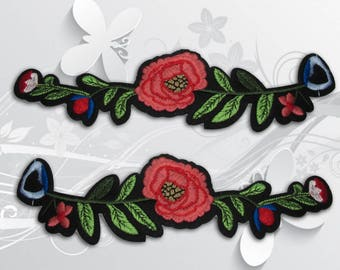 "Flower Iron on Patch (XL2)-Rose Flower Embroidered Applique Patch, Dress Decoration Appliques-Size 7 3/16""(W)x2''(H)"