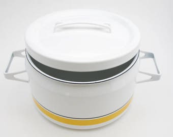 Yellow and Black striped Finel Arabia pot with lid, Seppo Mallet design, made in Finland