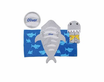 Personalized Hooded Beach & Bath Towel - Shark