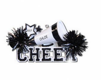 Personalized Cheerleader Christmas Ornament - Black