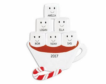 Personalized Hot Chocolate and Marshmallow Family Christmas Ornament - Family of 6
