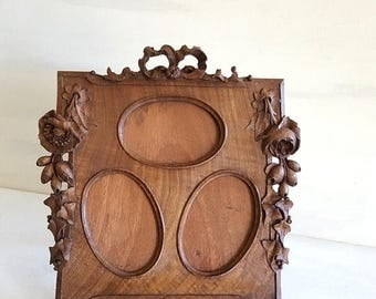 10 % OFF Antique French carved wood PICTURE FRAME with flowers and bow ribbon . 3 views !