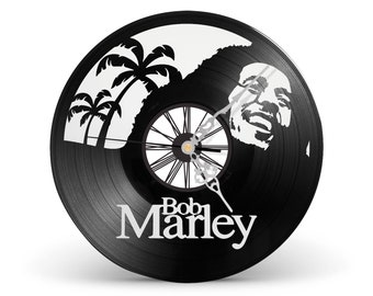BOB MARLEY / / Laser Cut Handicraft art 33 RPM Vinyl Clock Hour Vintage Olschool Decoration Child Room Living Room Interior