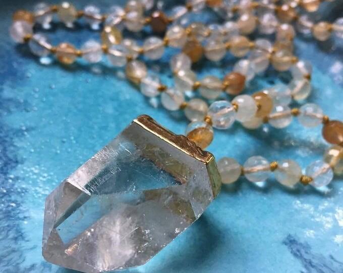 108 Bead Handknotted Faceted Citrine + Quartz Crystal Pendant Spiritual Junkies Yoga and Meditation Mini Mala (6 mm)