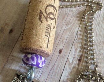 Charm Necklace, Upcycled Wine Cork Necklace, Recycled Wine Cork Necklace, Natural Wine Cork Necklace, Wine Cork Charm Necklace