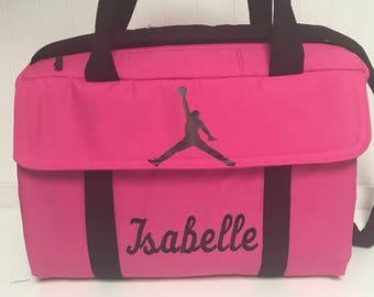 Custom handmade diaper bag Michael Jordan girls hot pink and black