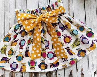 Little Girls Skirt with Sash, Little Girls Owl Skirt, Fall Skirt, Owl Skirt, Mustard Yellow Skirt, Skirt with a Sash, Skirt with a Bow